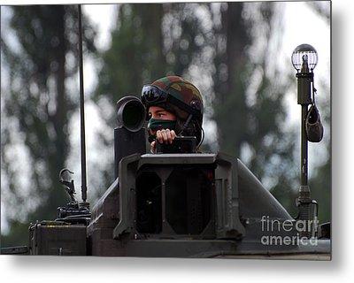 Tank Commander Of A Leopard 1a5 Mbt Metal Print by Luc De Jaeger