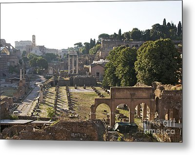 Temple Of Vesta Arch Of Titus. Temple Of Castor And Pollux. Forum Romanum Metal Print by Bernard Jaubert