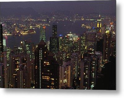 The Hong Kong Skyline Seen Metal Print by Justin Guariglia