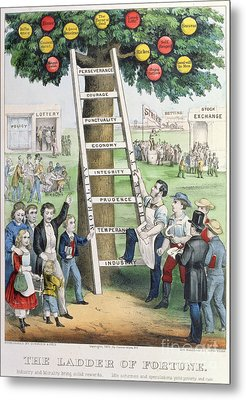 The Ladder Of Fortune Metal Print by Currier and Ives