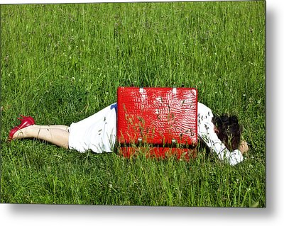 The Red Suitcase Metal Print by Joana Kruse