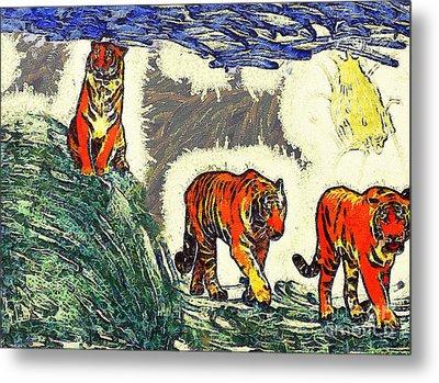 The Tigers Metal Print by Odon Czintos