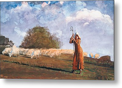 The Young Shepherdess Metal Print by Winslow Homer