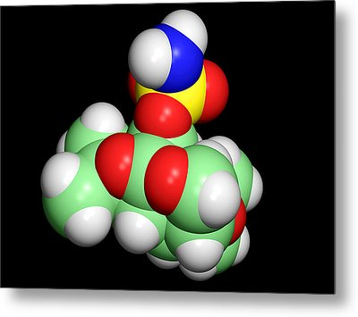 Topiramate Molecule, Anti-epilepsy Drug Metal Print by Dr Tim Evans
