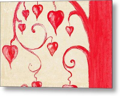 Tree Of Heart Painting On Paper Metal Print by Setsiri Silapasuwanchai