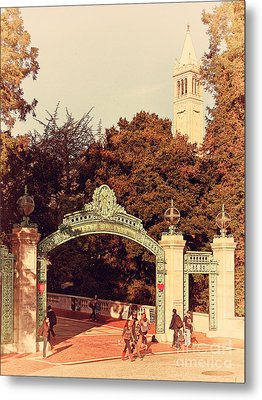 Uc Berkeley . Sproul Plaza . Sather Gate And Sather Tower Campanile . 7d10027 Metal Print by Wingsdomain Art and Photography