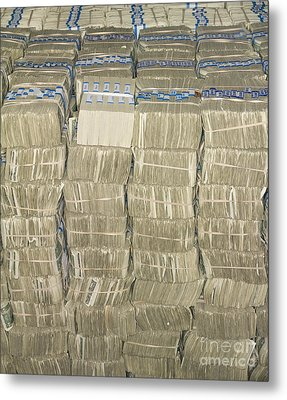 Us Cash Bundles Metal Print by Adam Crowley