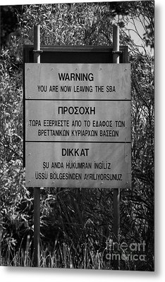 warning sign warning of the border of the turkish military controlled area of the SBA Sovereign Base Metal Print by Joe Fox