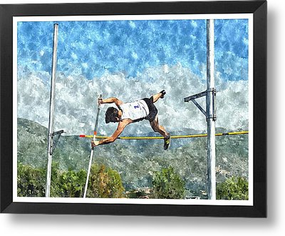 Watercolor Design Of Pole Vault Jump Metal Print by John Vito Figorito