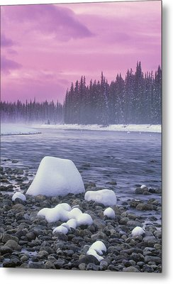 Winter Sunset On Bow River, Banff Metal Print by Darwin Wiggett