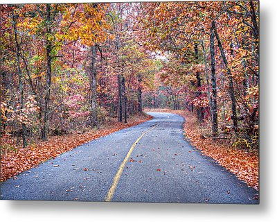 1010-4486 Petit Jean Autumn Highway Metal Print by Randy Forrester