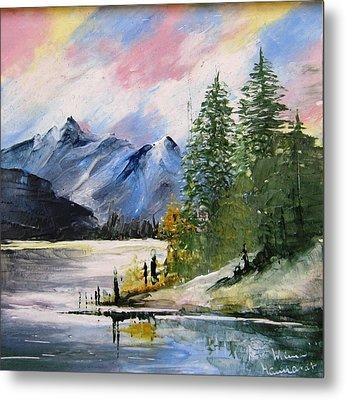 1131b Mountain Lake Scene Metal Print by Wilma Manhardt