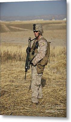 U.s. Marine Patrols A Wadi Near Kunduz Metal Print by Terry Moore