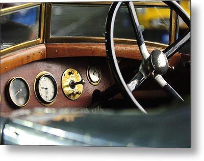 1921 Bentley  Instruments And Steering Wheel Metal Print by Jill Reger