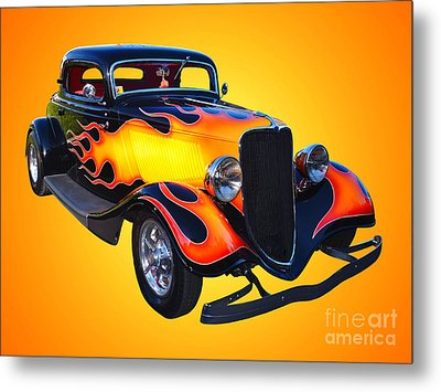 1934 Ford 3 Window Coupe Hotrod Metal Print by Jim Carrell