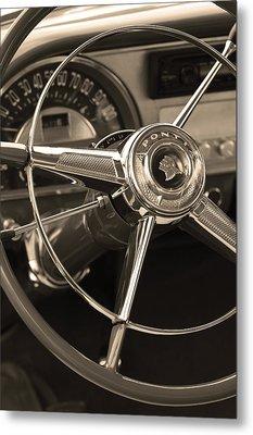 1953 Pontiac Steering Wheel - Sepia Metal Print by Jill Reger