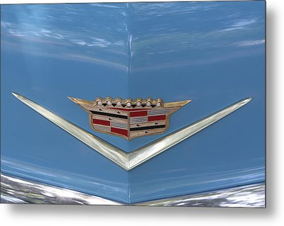 1956 Cadillac Emblem Metal Print by Linda Phelps