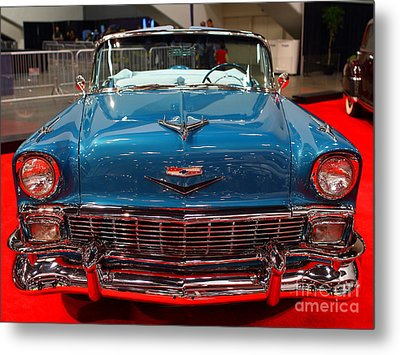 1956 Chevrolet Bel-air Convertible . Blue . 7d9246 Metal Print by Wingsdomain Art and Photography