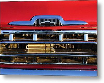 1957 Chevrolet Pickup Truck Grille Emblem Metal Print by Jill Reger
