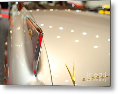 1958 Cadillac Eldorado Biarritz Convertible . Silver . Focus On Wing Tip . 7d9470 Metal Print by Wingsdomain Art and Photography