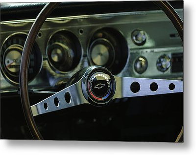 1965 Chevrolet Chevelle Malibu Ss Steering Wheel Metal Print by Jill Reger
