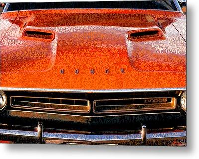 1971 Dodge Challenger - Orange Mopar Typography - Mp002 Metal Print by Gordon Dean II