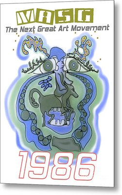 1986 Collectors Edition Poster Featuring Upside Down Art By Masg Artist L R Emerson II Metal Print by L R Emerson II