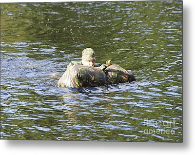 A Soldier Participates In A River Metal Print by Andrew Chittock