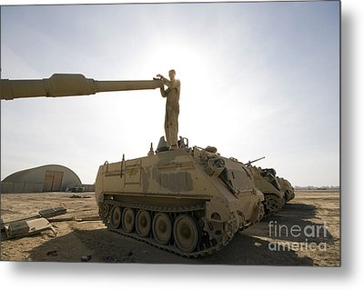 A Us Army Mechanic Uses A M113 Metal Print by Terry Moore