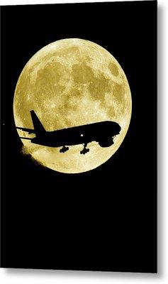 Aeroplane Silhouetted Against A Full Moon Metal Print by David Nunuk