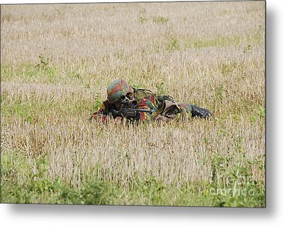 Belgian Paratroopers On Guard Metal Print by Luc De Jaeger