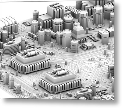 Circuit Board, Artwork Metal Print by Pasieka