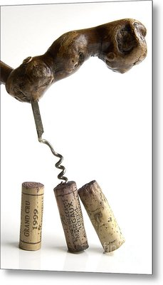 Corks Of French Wine. Metal Print by Bernard Jaubert