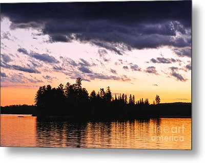 Dramatic Sunset At Lake Metal Print by Elena Elisseeva