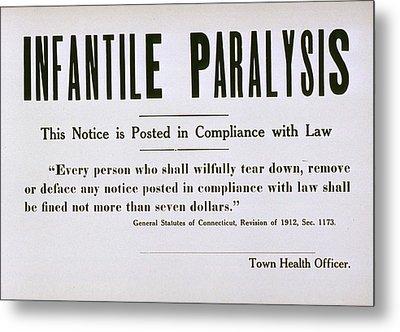 Early 20th Century Quarantine Sign Metal Print by Everett