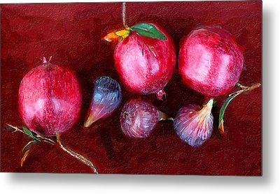 Figs And Pomegranates Metal Print by Ron Regalado