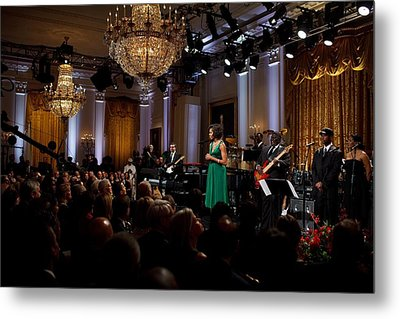First Lady Michelle Obama Speaks Metal Print by Everett