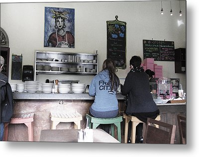 2 Girls At The Bakery Bar Metal Print by Kym Backland
