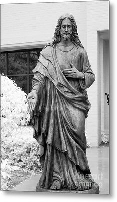 Jesus - Christian Art - Religious Statue Of Jesus Metal Print by Kathy Fornal