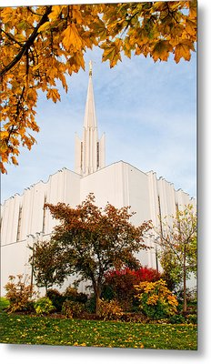 Jordan River Temple Metal Print by La Rae  Roberts