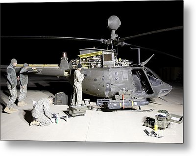 Maintenance Crew Works On Servicing Metal Print by Terry Moore