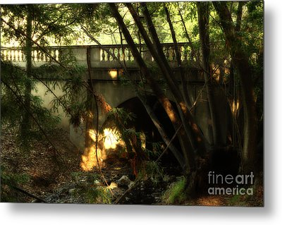 Pedestrian Bridge And Strawberry Creek  . 7d10132 Metal Print by Wingsdomain Art and Photography