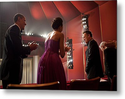 President And Michelle Obama Applaud Metal Print by Everett