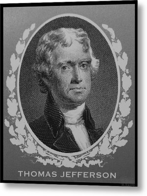 Thomas Jefferson In Black And White Metal Print by Rob Hans
