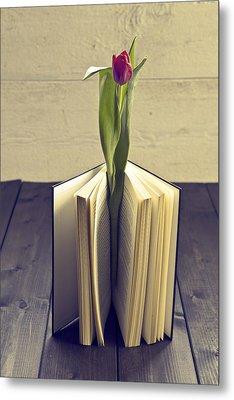 Tulip In A Book Metal Print by Joana Kruse
