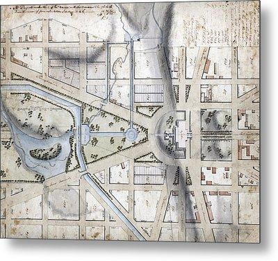 Washington, D.c. Map Showing Metal Print by Everett