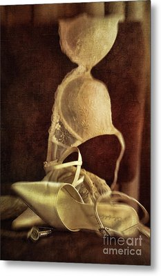 Wedding Shoes And Under Garments On Chair Metal Print by Sandra Cunningham