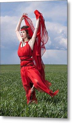 Woman In Red Series Metal Print by Cindy Singleton