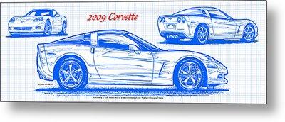2009 C6 Corvette Blueprint Metal Print by K Scott Teeters