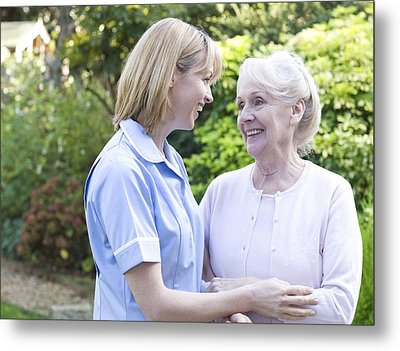 Nurse On A Home Visit Metal Print by